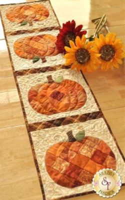 scrappy fall pumpkin table runner by shabyy fabrics