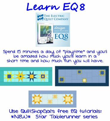!5 Minutes A Day EQ8 tutorials, by QuiltShopGal star table runner series