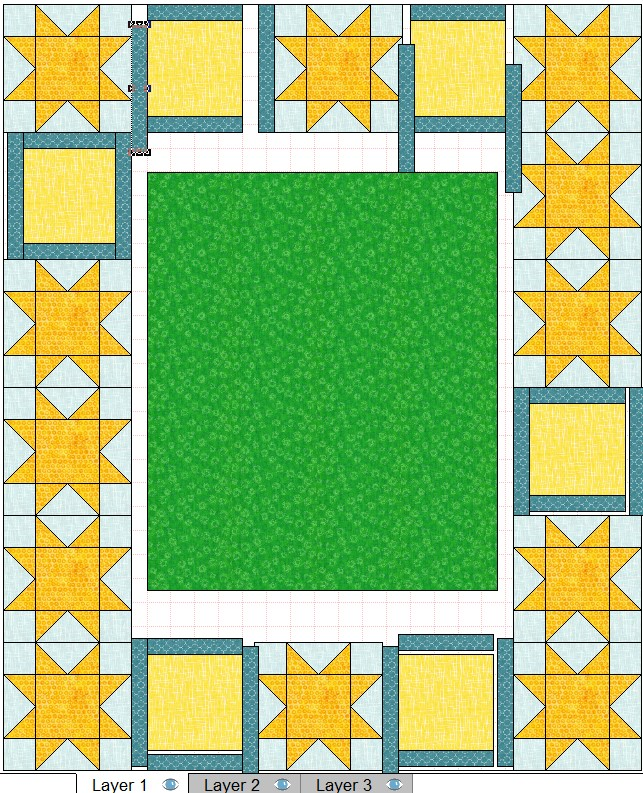 quilt layout for block 1 in wide 8 inch tall step 1