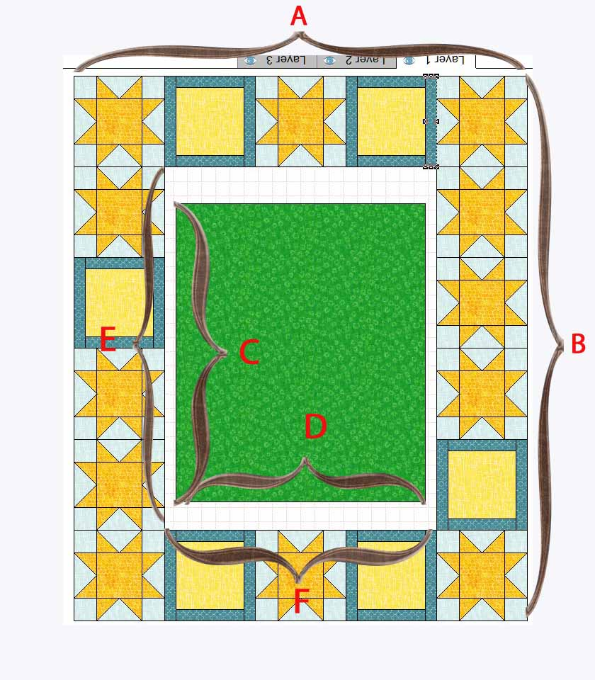 quilt layout measurement step 1
